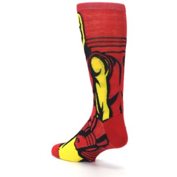 Image of Red Yellow Iron Man 360 Men's Casual Socks (side-2-back-15)