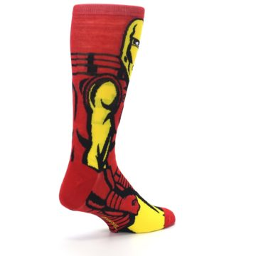 Image of Red Yellow Iron Man 360 Men's Casual Socks (side-1-back-22)