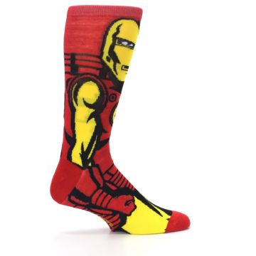 Image of Red Yellow Iron Man 360 Men's Casual Socks (side-1-24)