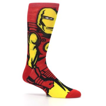Image of Red Yellow Iron Man 360 Men's Casual Socks (side-1-25)