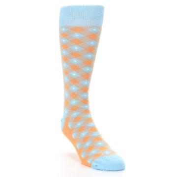 Image of Blue Orange Diamond Plaid Men's Dress Socks (side-1-front-02)