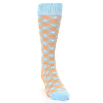 Image of Blue Orange Diamond Plaid Men's Dress Socks (side-1-front-03)
