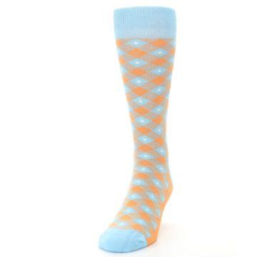 Image of Blue Orange Diamond Plaid Men's Dress Socks (side-2-front-06)