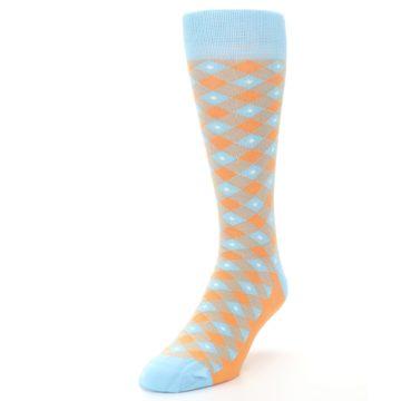 Image of Blue Orange Diamond Plaid Men's Dress Socks (side-2-front-07)