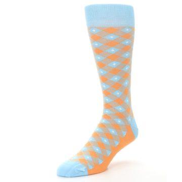 Image of Blue Orange Diamond Plaid Men's Dress Socks (side-2-front-08)