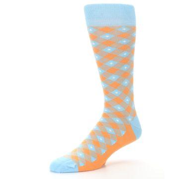 Image of Blue Orange Diamond Plaid Men's Dress Socks (side-2-09)