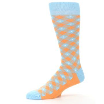 Image of Blue Orange Diamond Plaid Men's Dress Socks (side-2-10)
