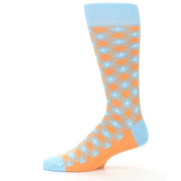 Image of Blue Orange Diamond Plaid Men's Dress Socks (side-2-11)