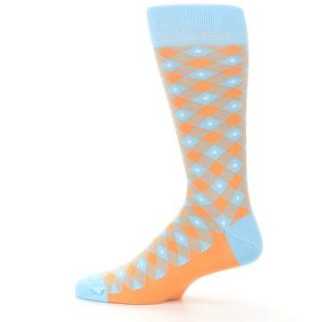 Image of Blue Orange Diamond Plaid Men's Dress Socks (side-2-12)