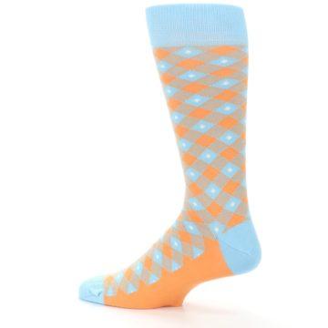 Image of Blue Orange Diamond Plaid Men's Dress Socks (side-2-13)