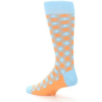 Image of Blue Orange Diamond Plaid Men's Dress Socks (side-2-back-14)