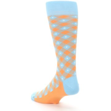 Image of Blue Orange Diamond Plaid Men's Dress Socks (side-2-back-15)