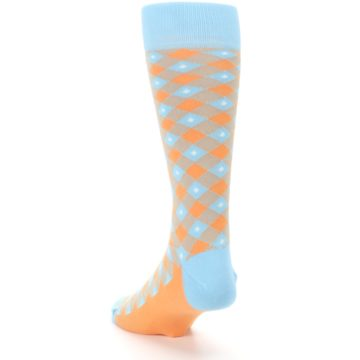 Image of Blue Orange Diamond Plaid Men's Dress Socks (side-2-back-16)
