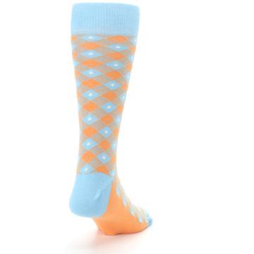 Image of Blue Orange Diamond Plaid Men's Dress Socks (side-1-back-20)