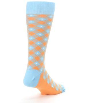 Image of Blue Orange Diamond Plaid Men's Dress Socks (side-1-back-21)