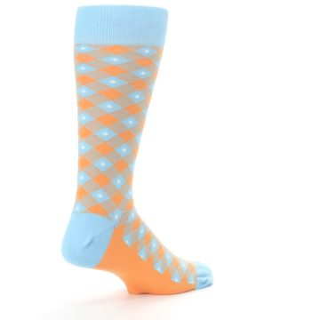 Image of Blue Orange Diamond Plaid Men's Dress Socks (side-1-back-22)