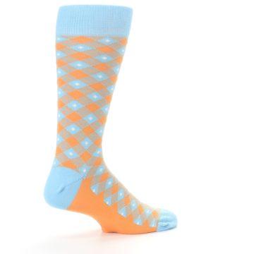 Image of Blue Orange Diamond Plaid Men's Dress Socks (side-1-23)