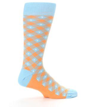 Image of Blue Orange Diamond Plaid Men's Dress Socks (side-1-24)