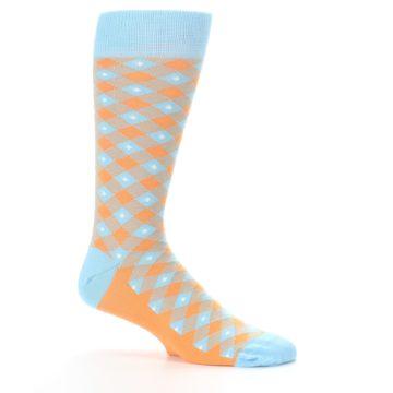 Image of Blue Orange Diamond Plaid Men's Dress Socks (side-1-25)