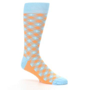 Image of Blue Orange Diamond Plaid Men's Dress Socks (side-1-26)