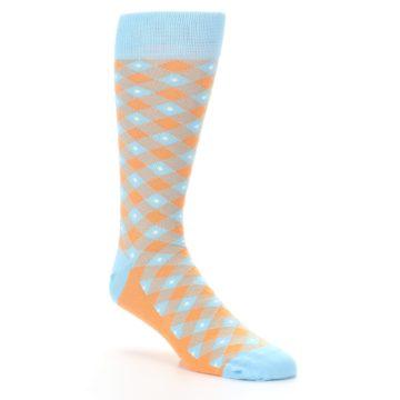 Image of Blue Orange Diamond Plaid Men's Dress Socks (side-1-27)