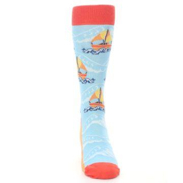 Image of Blue Orange Waves Sailboats Men's Dress Socks (front-04)
