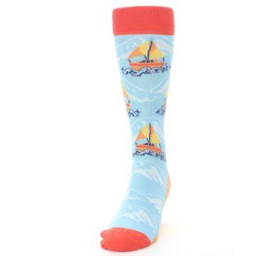 Image of Blue Orange Waves Sailboats Men's Dress Socks (side-2-front-06)