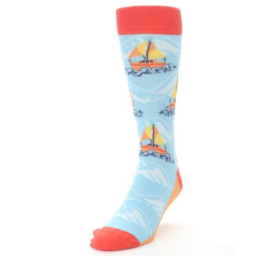 Image of Blue Orange Waves Sailboats Men's Dress Socks (side-2-front-07)