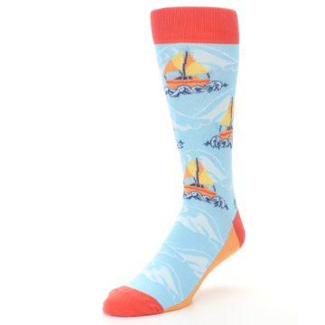 Image of Blue Orange Waves Sailboats Men's Dress Socks (side-2-front-08)