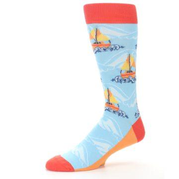 Image of Blue Orange Waves Sailboats Men's Dress Socks (side-2-10)