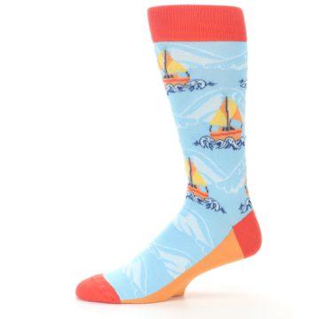 Image of Blue Orange Waves Sailboats Men's Dress Socks (side-2-11)