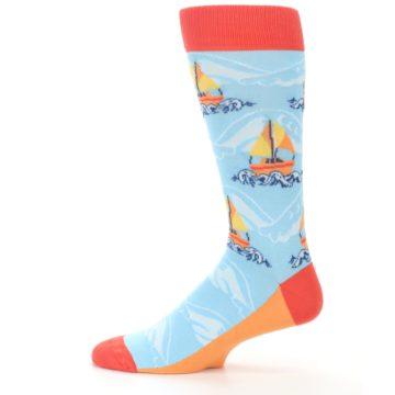Image of Blue Orange Waves Sailboats Men's Dress Socks (side-2-12)