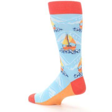 Image of Blue Orange Waves Sailboats Men's Dress Socks (side-2-back-14)