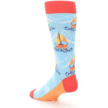 Image of Blue Orange Waves Sailboats Men's Dress Socks (side-2-back-15)