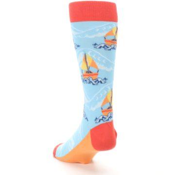 Image of Blue Orange Waves Sailboats Men's Dress Socks (side-2-back-16)