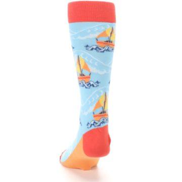 Image of Blue Orange Waves Sailboats Men's Dress Socks (back-17)