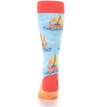 Image of Blue Orange Waves Sailboats Men's Dress Socks (back-18)