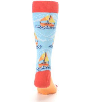 Image of Blue Orange Waves Sailboats Men's Dress Socks (back-19)