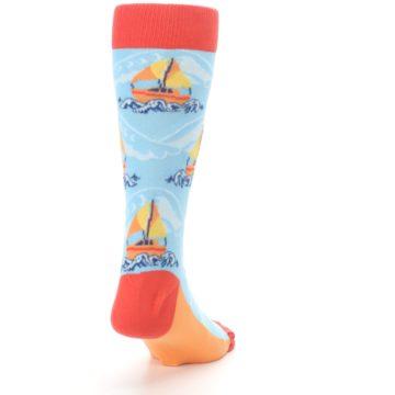 Image of Blue Orange Waves Sailboats Men's Dress Socks (side-1-back-20)