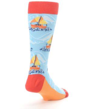Image of Blue Orange Waves Sailboats Men's Dress Socks (side-1-back-21)