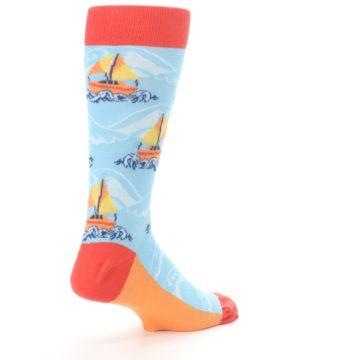 Image of Blue Orange Waves Sailboats Men's Dress Socks (side-1-back-22)