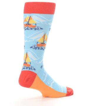 Image of Blue Orange Waves Sailboats Men's Dress Socks (side-1-23)