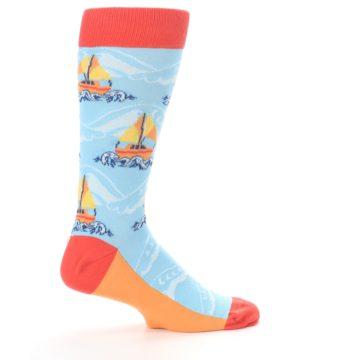 Image of Blue Orange Waves Sailboats Men's Dress Socks (side-1-24)