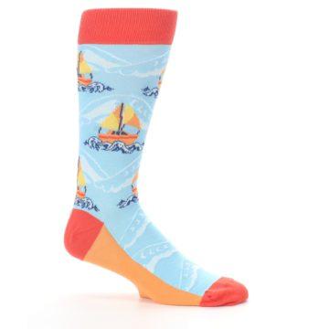 Image of Blue Orange Waves Sailboats Men's Dress Socks (side-1-25)