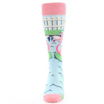 Image of Pink Blue Flamingle Flamingo Men's Dress Socks (front-05)