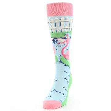 Image of Pink Blue Flamingle Flamingo Men's Dress Socks (side-2-front-06)