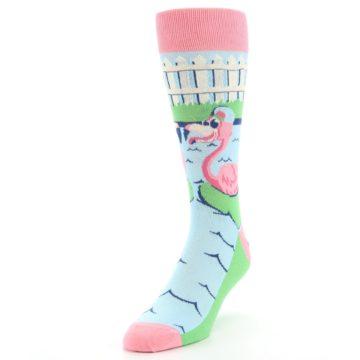 Image of Pink Blue Flamingle Flamingo Men's Dress Socks (side-2-front-07)