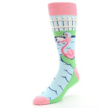 Image of Pink Blue Flamingle Flamingo Men's Dress Socks (side-2-front-08)