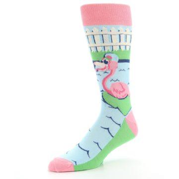 Image of Pink Blue Flamingle Flamingo Men's Dress Socks (side-2-09)