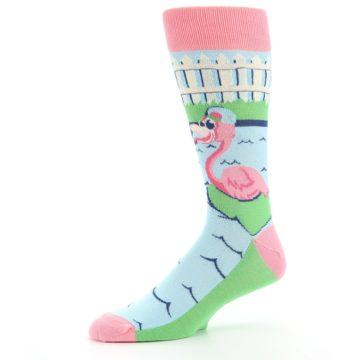 Image of Pink Blue Flamingle Flamingo Men's Dress Socks (side-2-10)